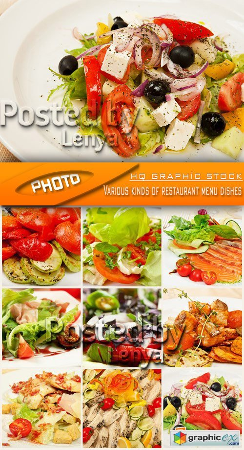 Stock Photo - Various kinds of restaurant menu dishes
