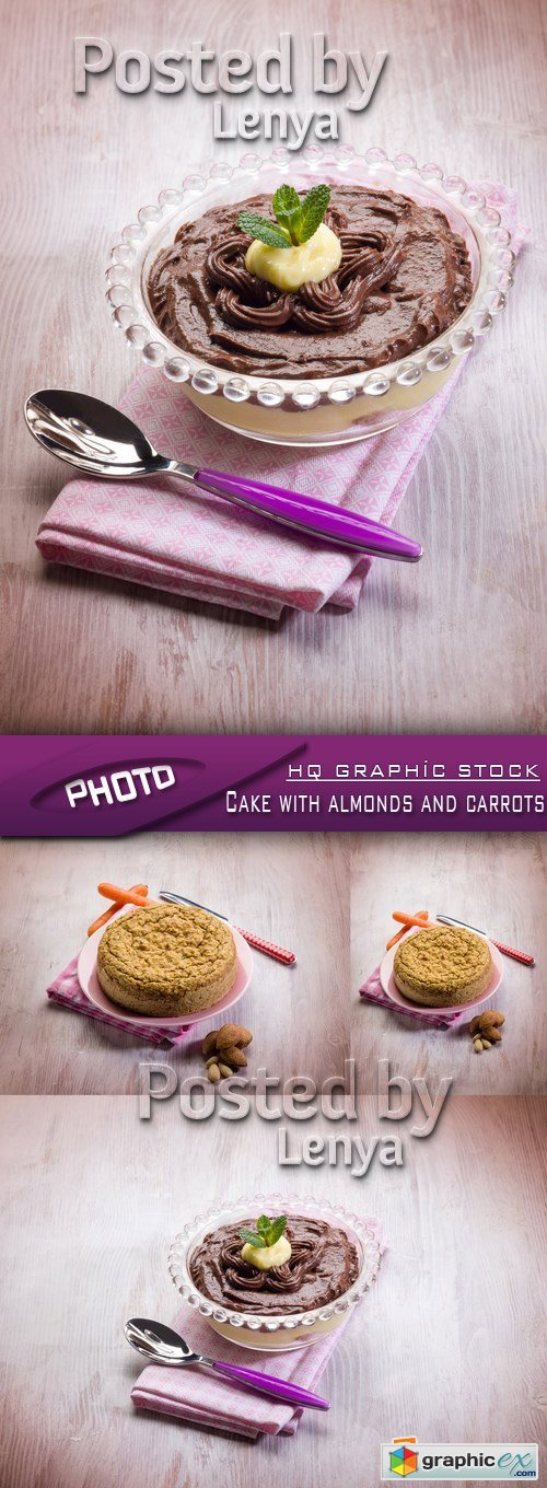 Stock Photo - Cake with almonds and carrots