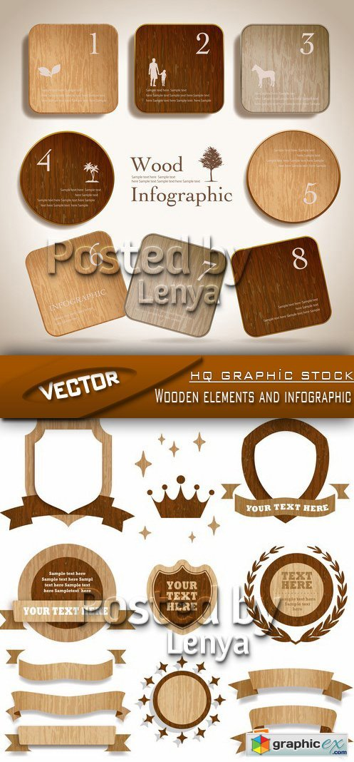 Stock Vector - Wooden elements and infographic