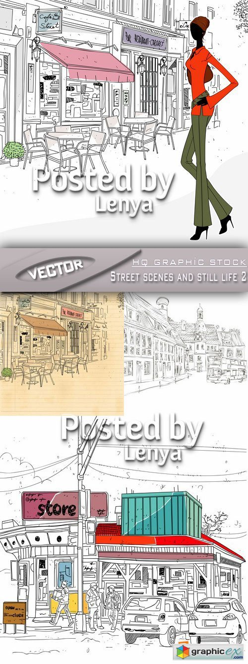 Stock Vector - Street scenes and still life 2