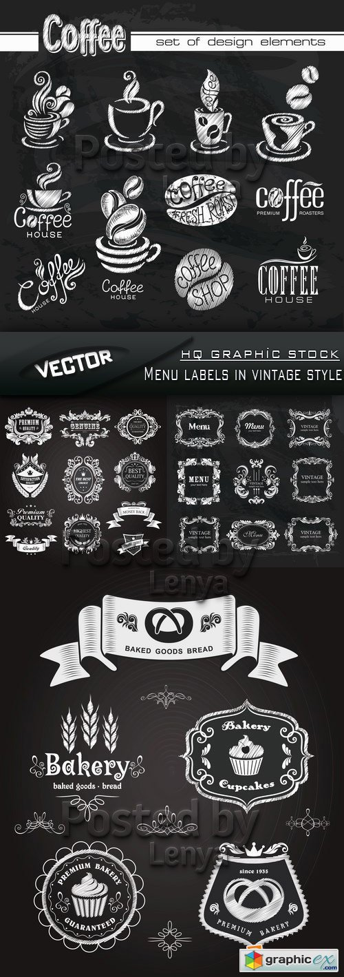 Stock Vector - Menu labels in vintage style