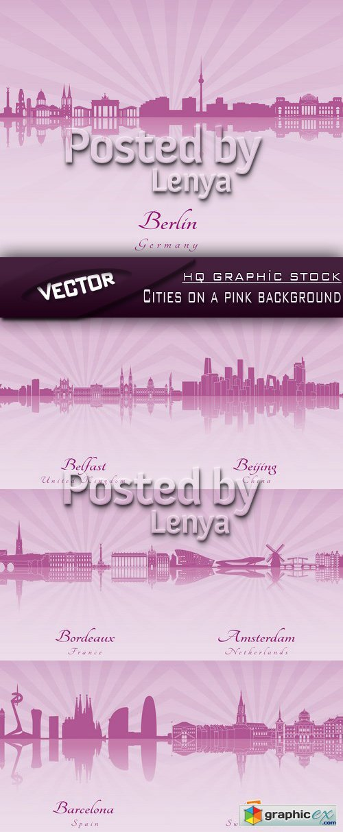 Stock Vector - Cities on a pink background