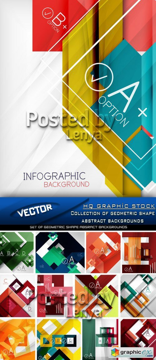 Stock Vector - Collection of geometric shape abstract backgrounds