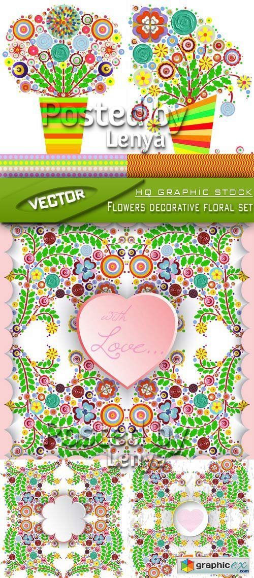 Stock Vector - Flowers decorative floral set