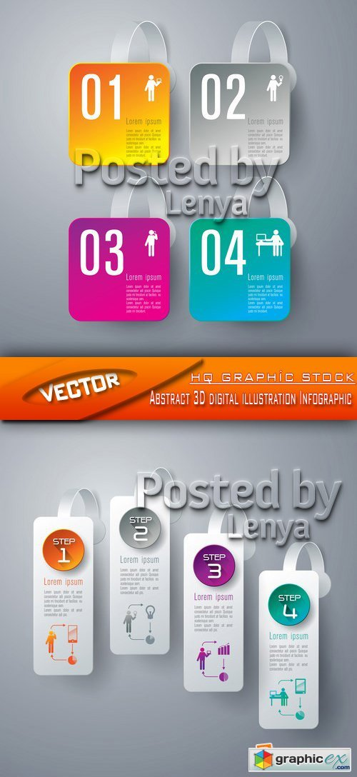 Stock Vector - Abstract 3D digital illustration Infographic