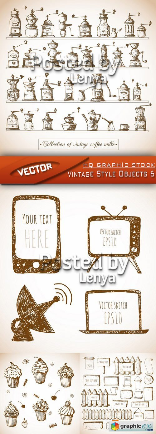Stock Vector - Vintage Style Objects 6