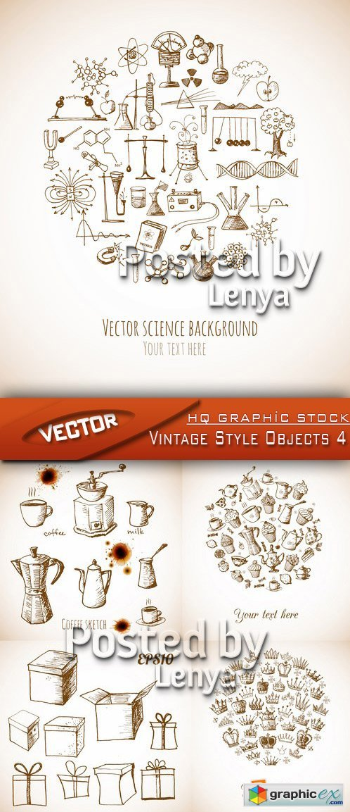 Stock Vector - Vintage Style Objects 4