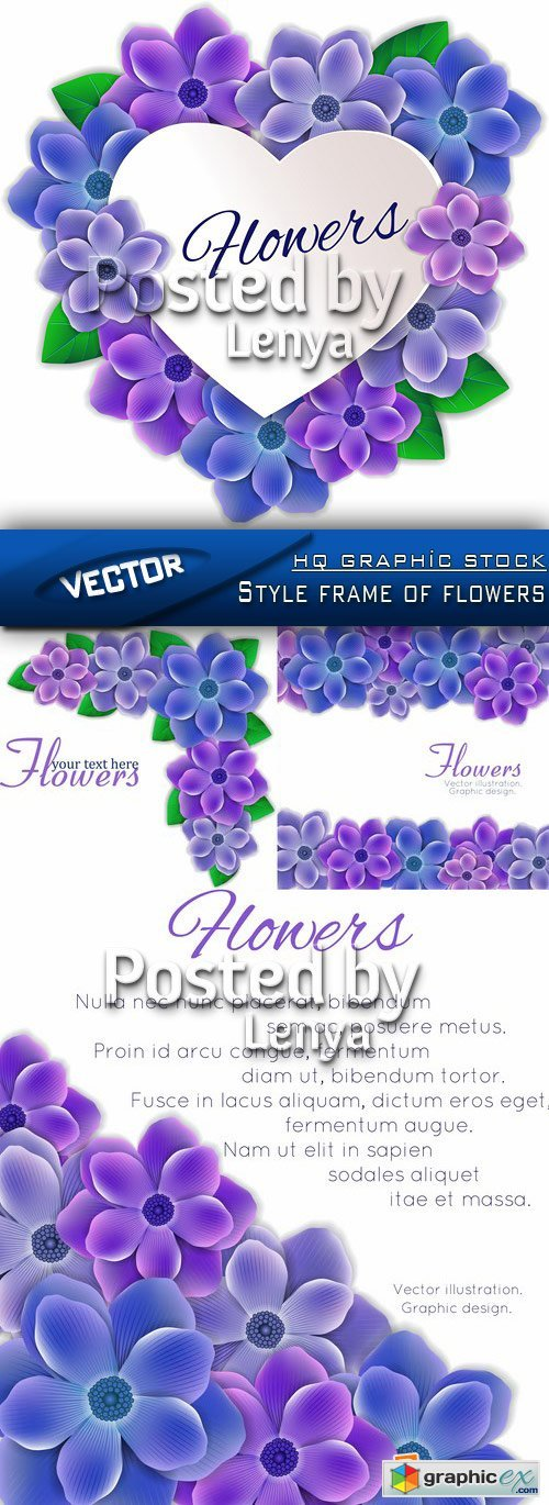 Stock Vector - Style frame of flowers