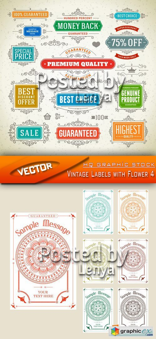 Stock Vector - Vintage Labels with Flower 4