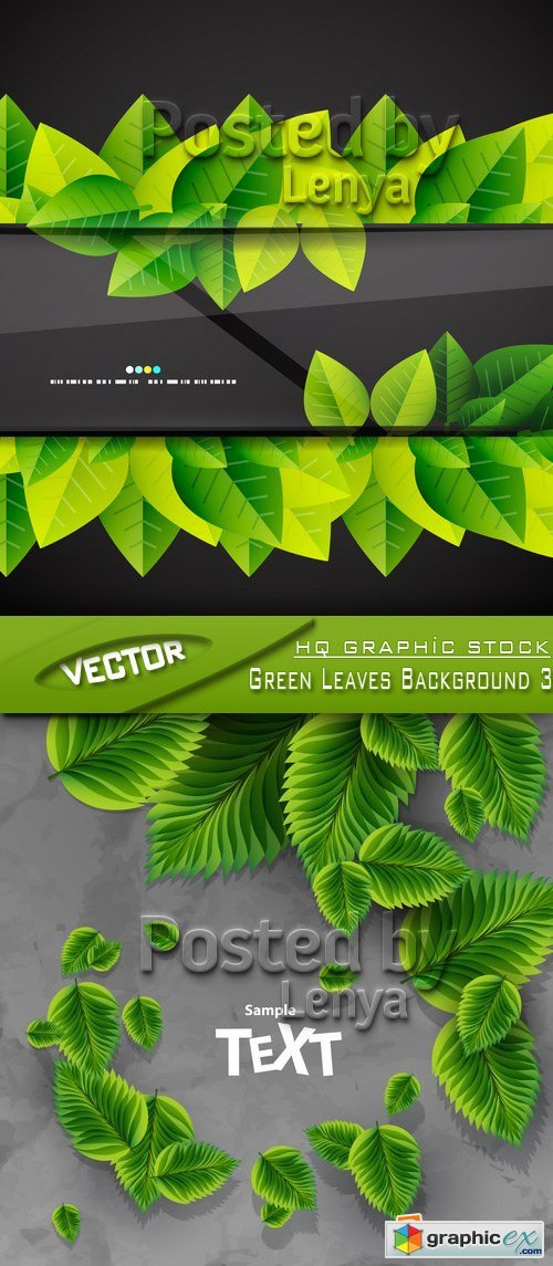 Stock Vector - Green Leaves Background 3