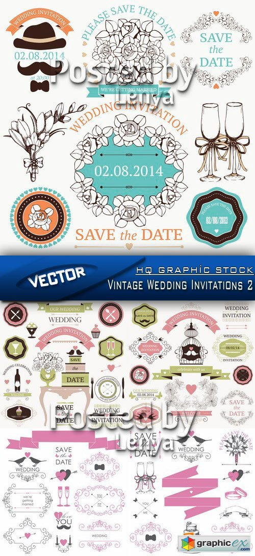 Stock Vector - Vintage Wedding Invitations 2