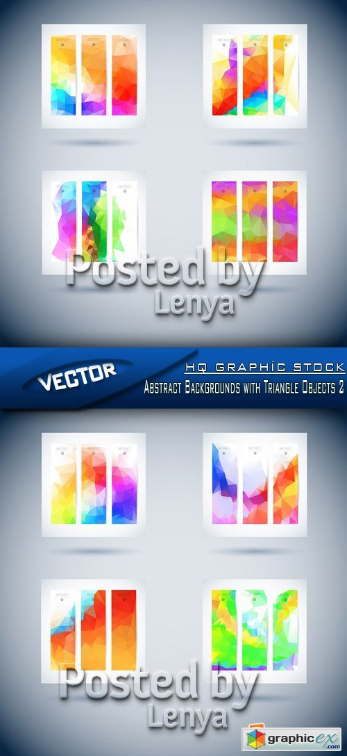 Stock Vector - Abstract Backgrounds with Triangle Objects 2