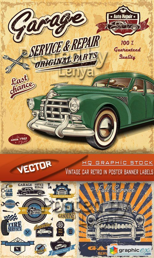 Stock Vector - Vintage car retro in poster banner labels