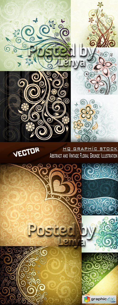 Stock Vector - Abstract and Vintage Floral Grunge Illustration