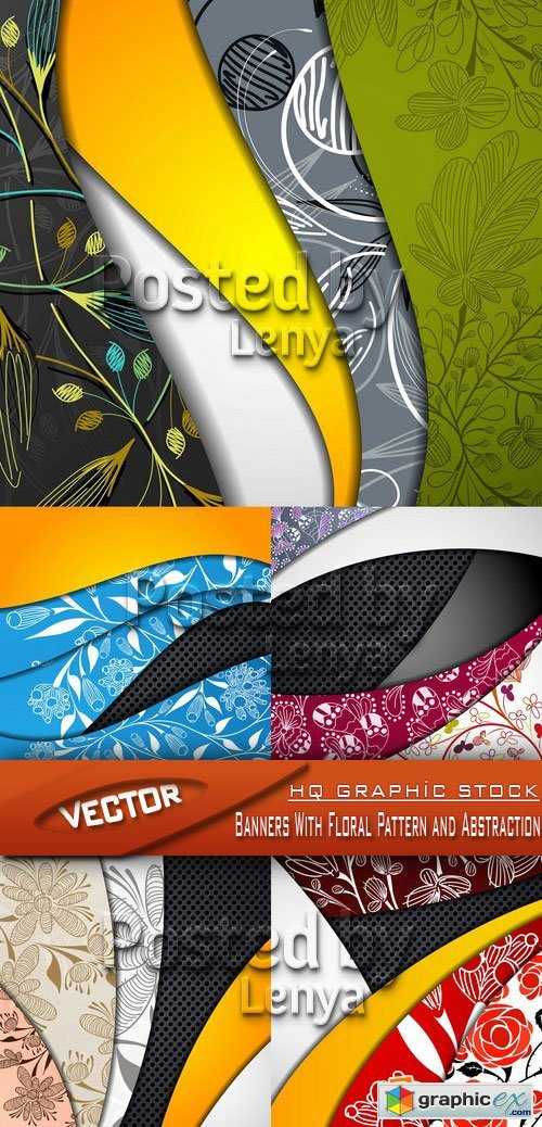 Stock Vector  - Banners With Floral Pattern and Abstraction