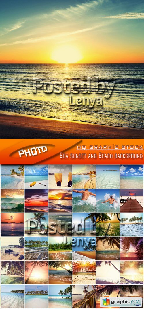 Stock Photo - Sea sunset and Beach background