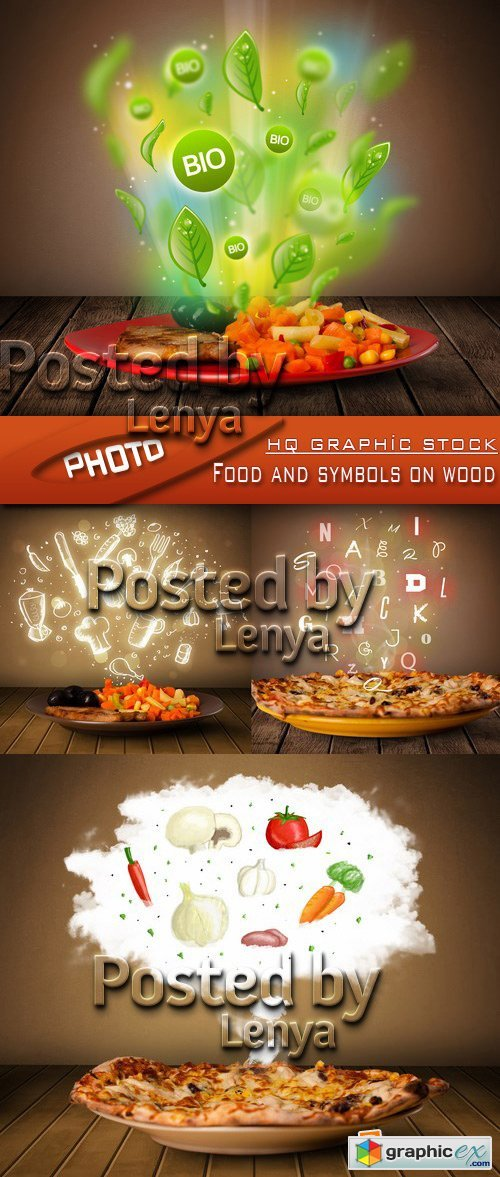 Stock Photo - Food and symbols on wood