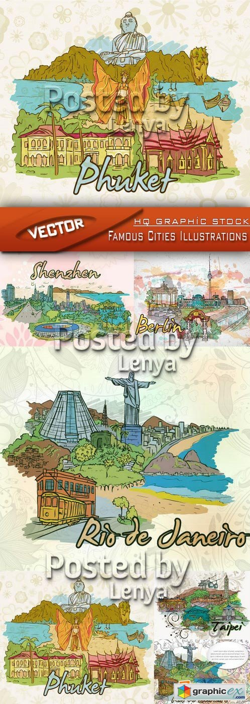 Stock Vector - Famous Cities Illustrations