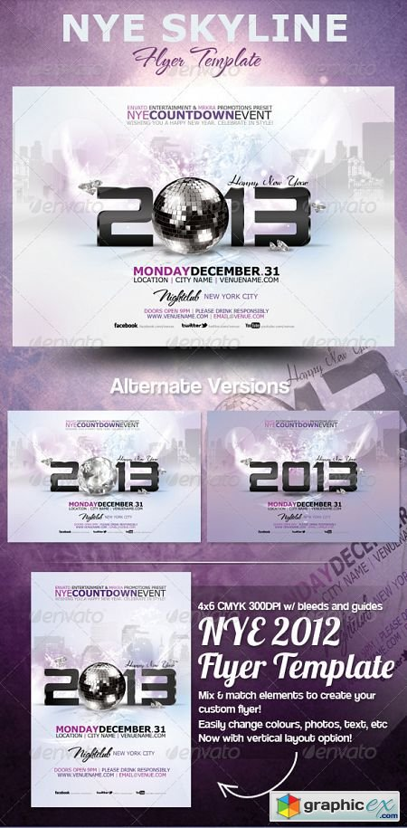 NYE 2013 Skyline Flyer Template