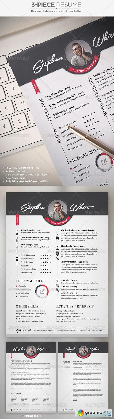 3-Piece Resume CV Set 6970832