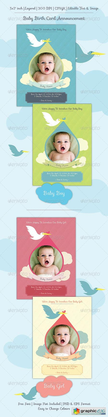 Baby Birth Announcement Card 6899658