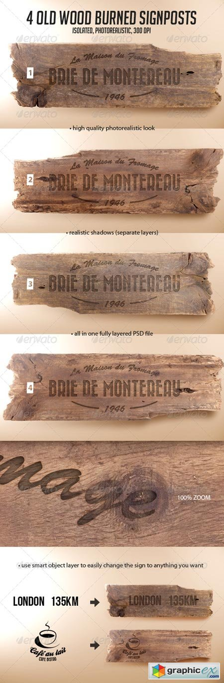 4 Old Wood Burned Signposts Boards Isolated Mockup 6951364