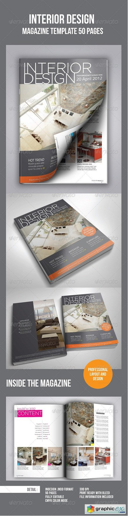 Interior Design Magazine Template (50 pages)