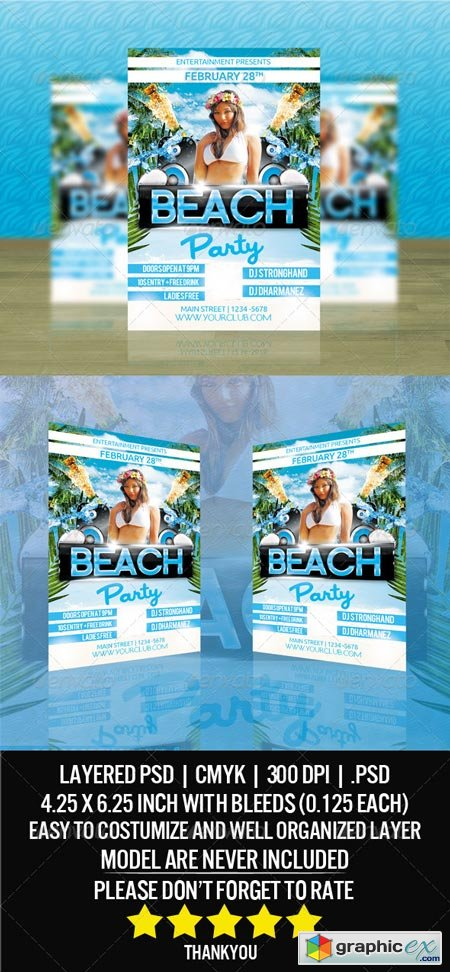 Beach Party Flyer Template 6915841