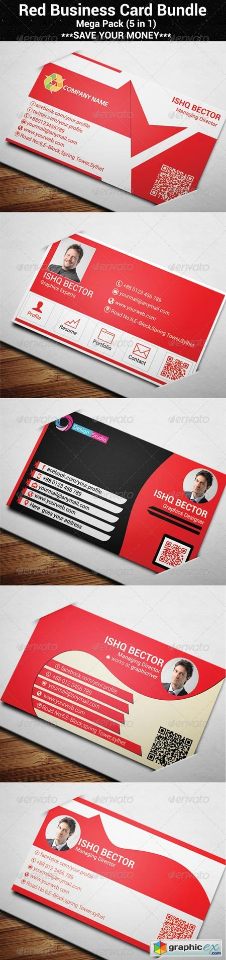 5 in 1 Red Business Card Bundle 6925926
