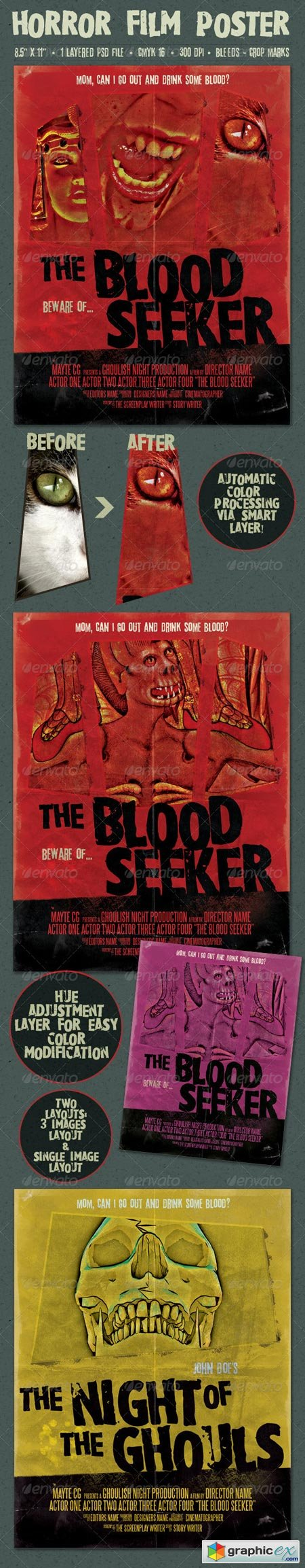 The Blood Seeker Vintage Style Horror Film Poster 6927269