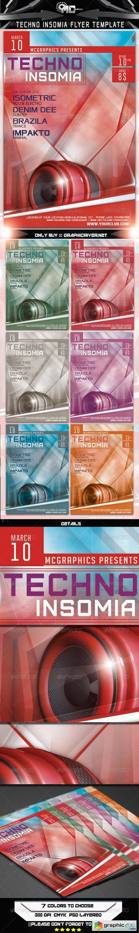 Techno Insomia Flyer Template 6897591
