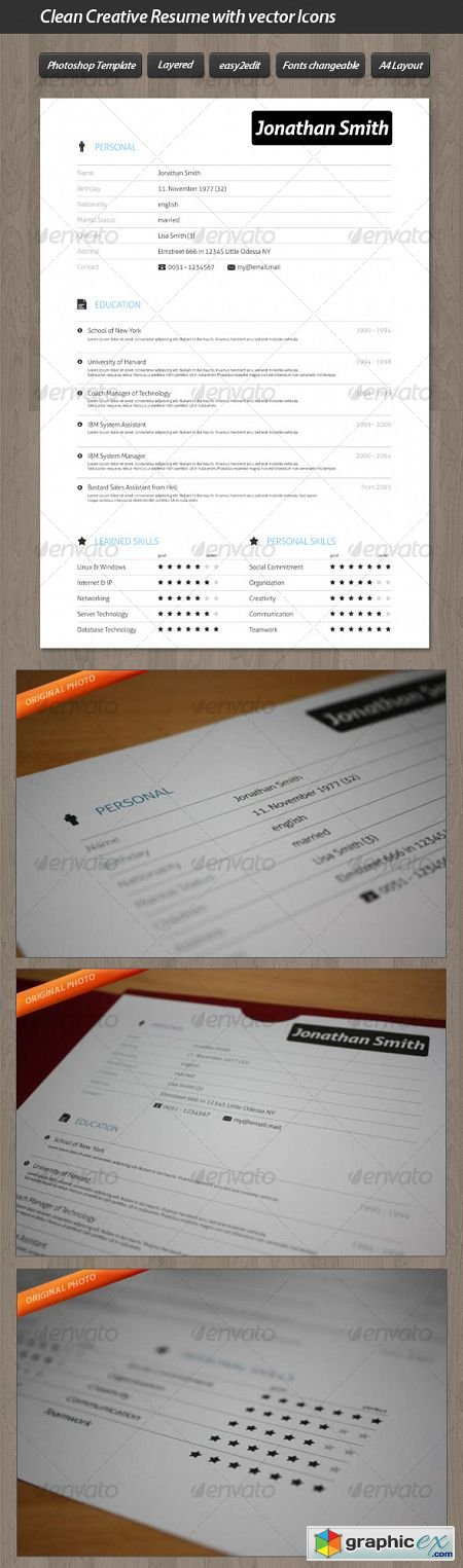 Clean Creative Resume with Vector Icons