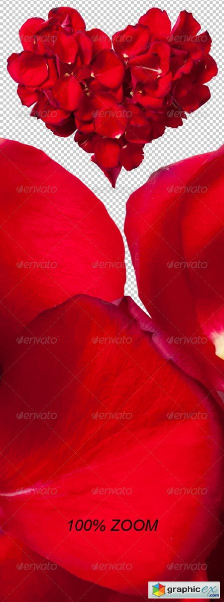 Red Rose Petals Heart Photo-realistic 6554847