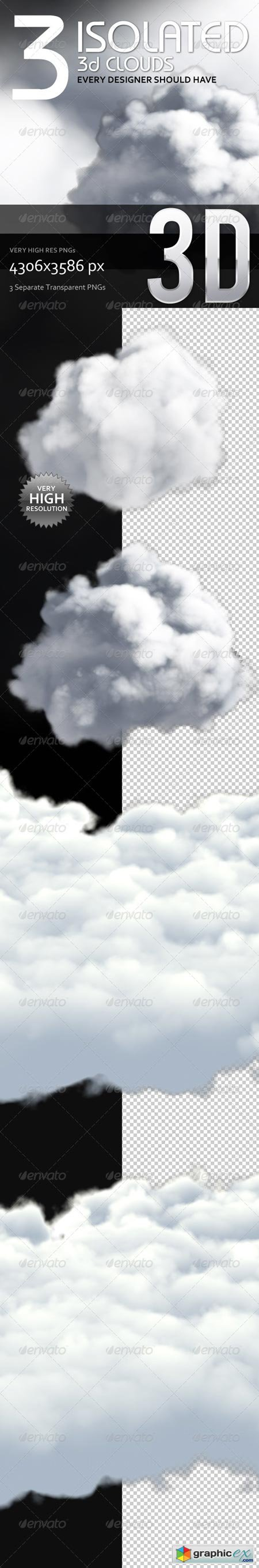 3 Isolated 3D Clouds 6452143