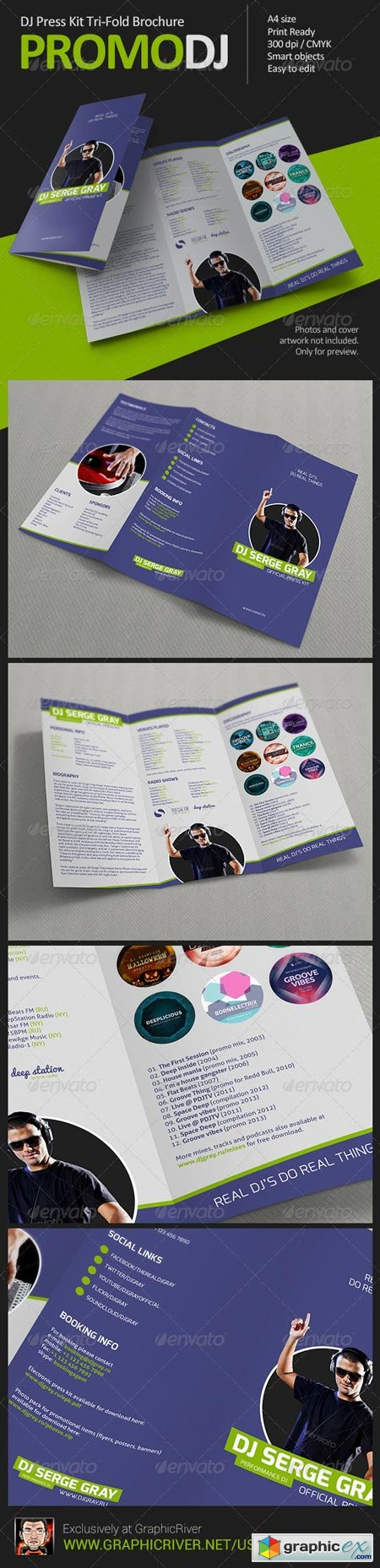 PromoDJ - DJ Press Kit Tri-Fold Brochure 6239966