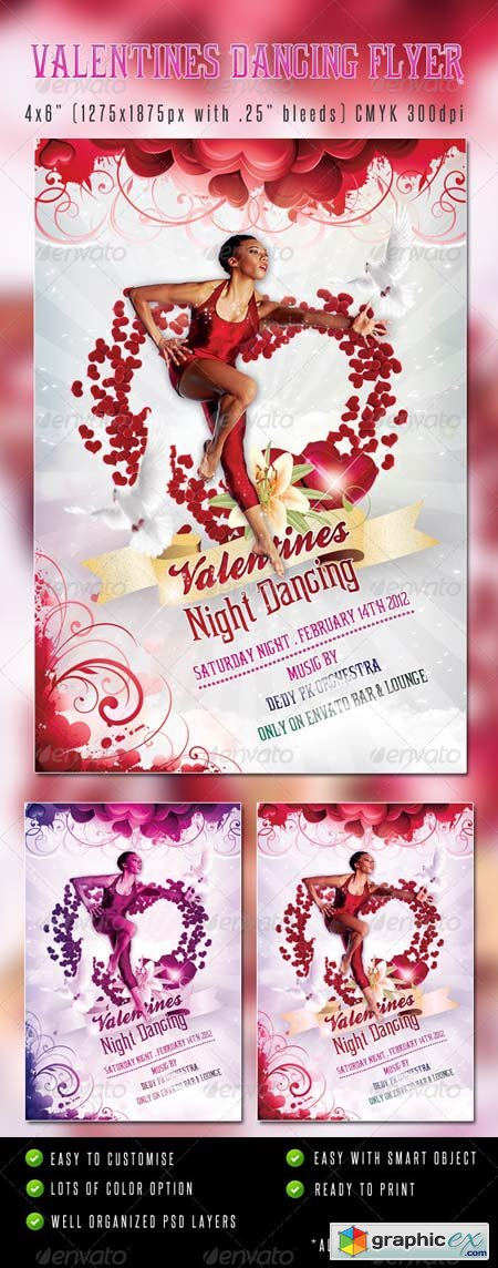 Valentines Dancing  Flyer Template 1267229