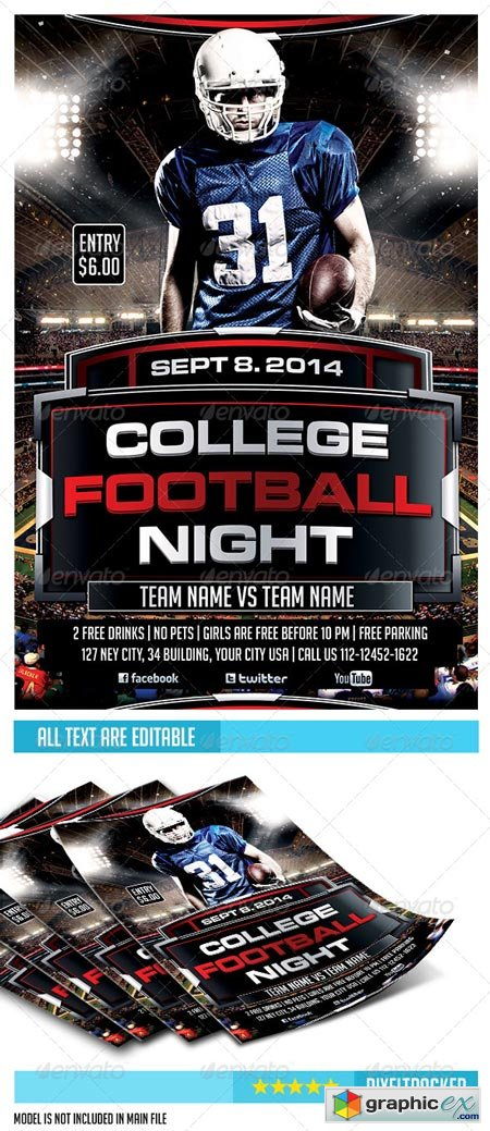 College Football Night Party Flyer Template 6680816