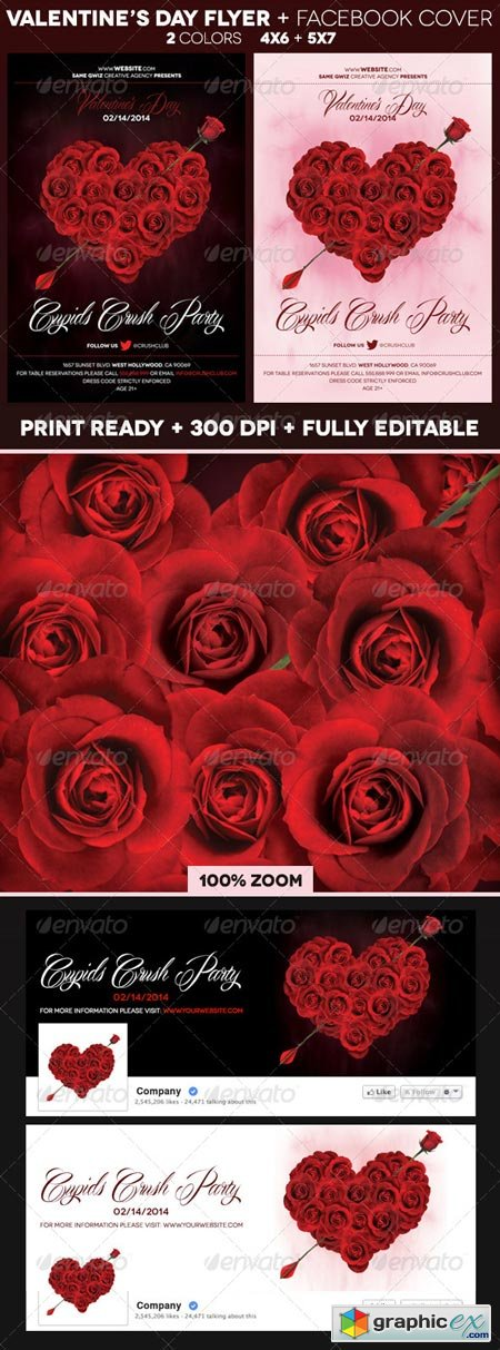 Rose Heart Valentines Day Flyer 6539468