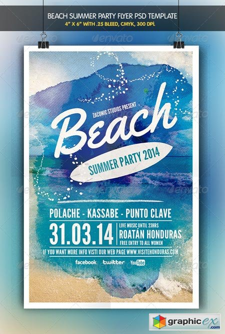 Beach Party Flyer Template 6561596