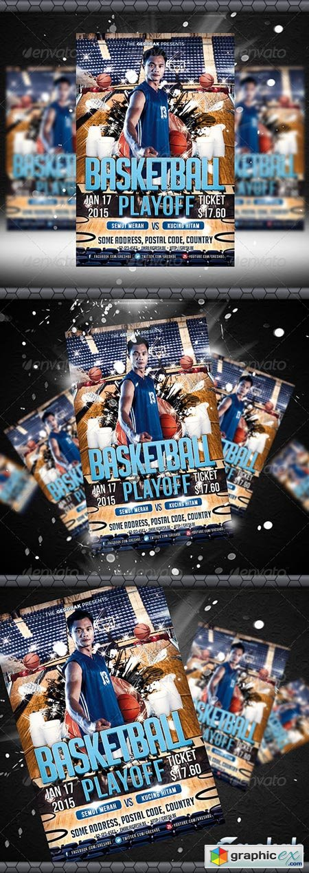 Basketball Playoff Flyer Template 6392473
