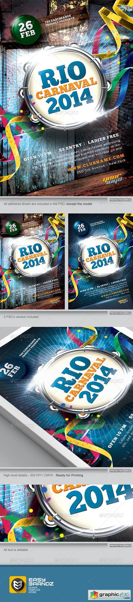 Carnaval 2014 Flyer Template 6490241