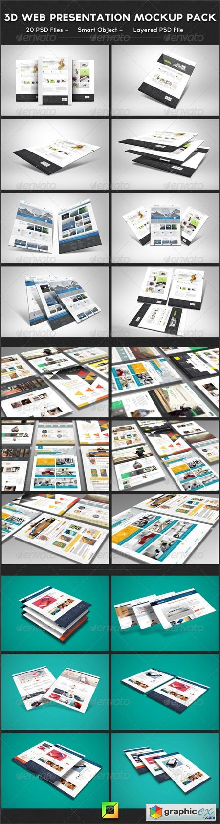 3D Web Presentation Mockup Bundle 6216722