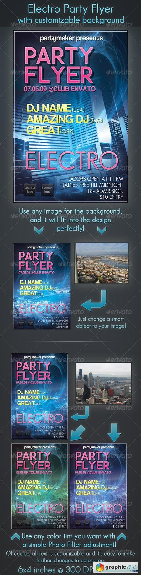 Electro Party Flyer with Customizable Background 125856