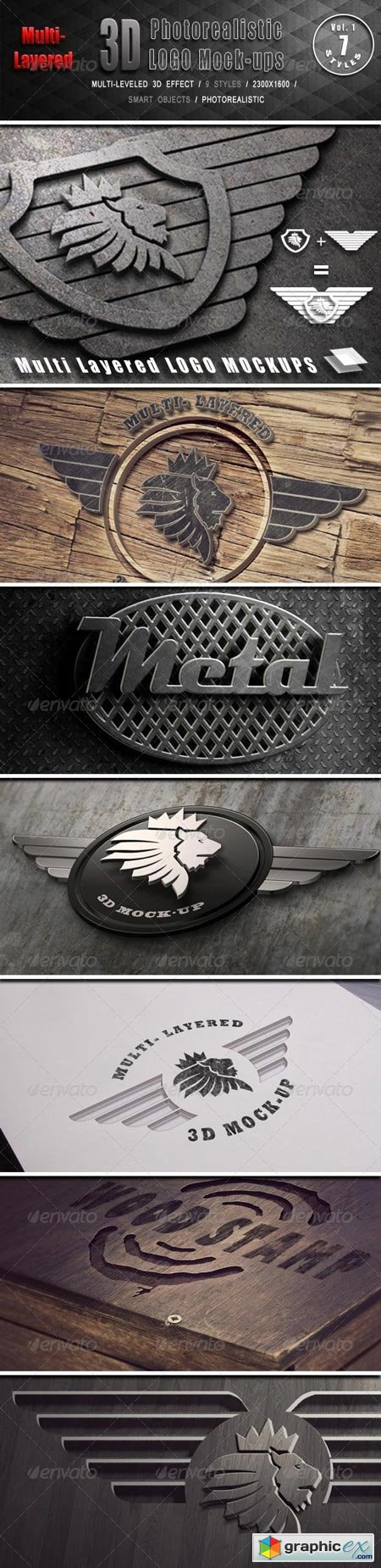 Photorealistic Multi-Layered 3D Logo Mock-Up 6453380