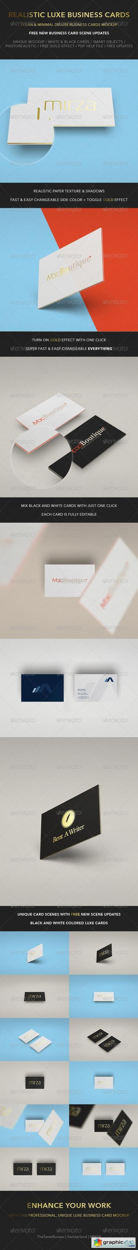 Realistic Luxe Business Card Mock-Up 6507623