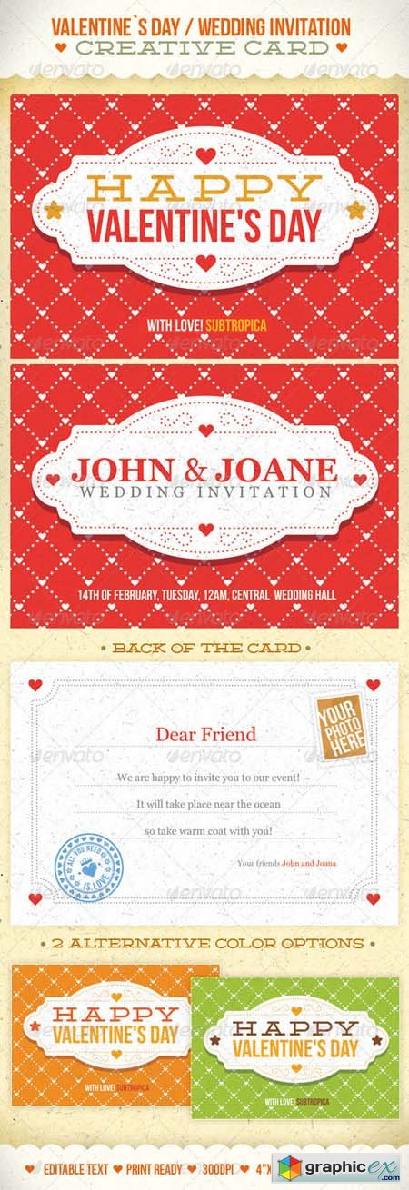 Valentine's Day And Wedding Invitation Postcard 1270229