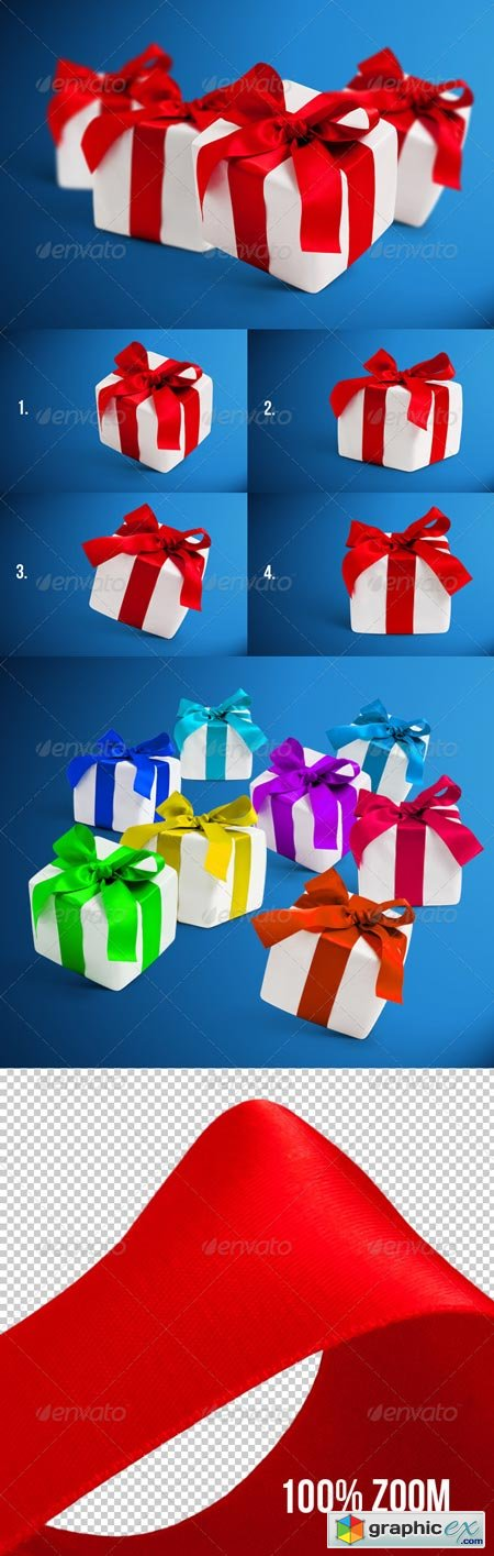 4 Gift Boxes with Shadows Photorealistic 6272285