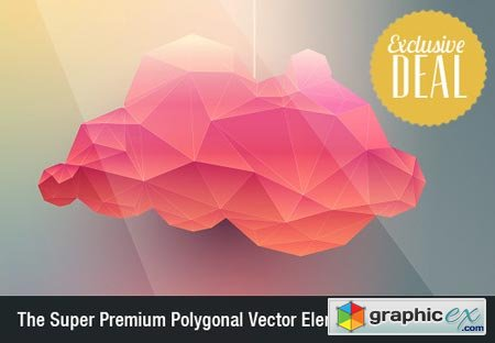 Super Premium Polygonal Vector Elements with an Extended Royalty License
