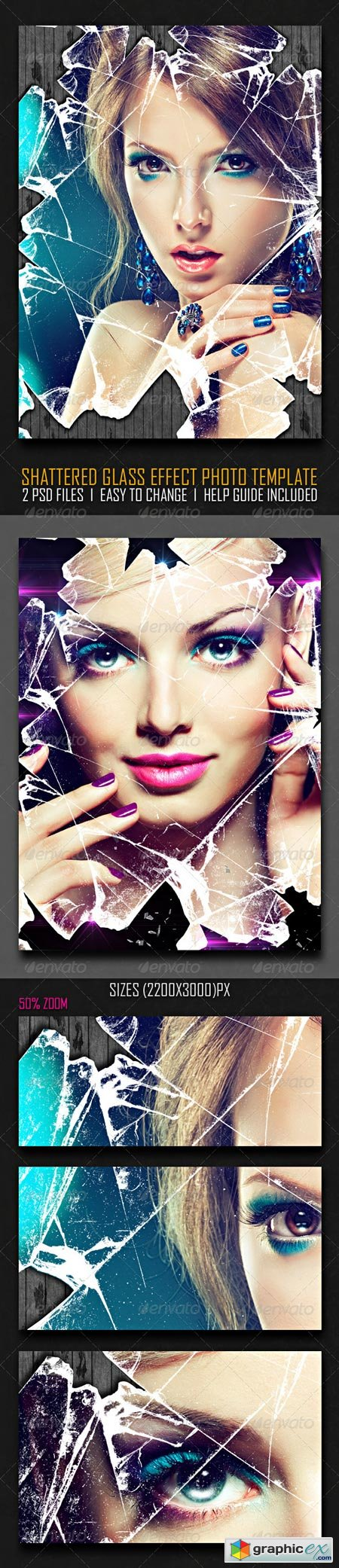 Shattered Glass Effect Photo Template 6521455