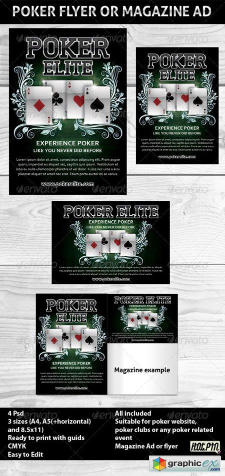 Poker Magazine Ads or flyers Template 2 237144